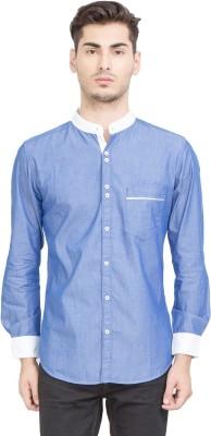 Riot Jeans Men's Solid Casual Denim Blue Shirt