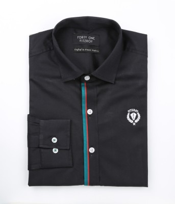 FORTY ONE FITZROY Men's Self Design Party Black Shirt