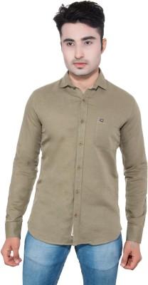 GreyBooze Men's Solid Casual Linen Grey Shirt
