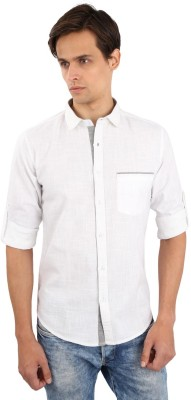 Eden Elliot Men's Solid Casual White Shirt