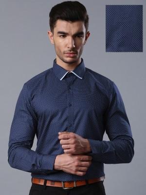 Invictus Men's Printed Formal Dark Blue Shirt