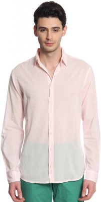 Cotton World Men's Solid Casual Pink Shirt