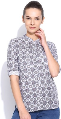 Silly People Women's Printed Casual Blue Shirt