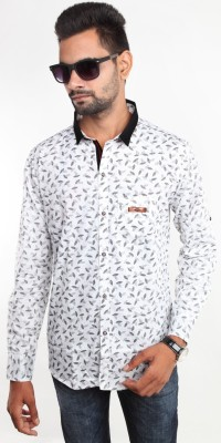 Beyond Imagination Men's Printed Casual White Shirt