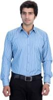 25th R Formal Shirts (Men's) - 25th R Men's Striped Formal Green, Blue Shirt