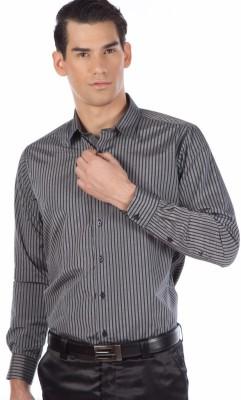 Provogue Men's Striped Formal Grey Shirt