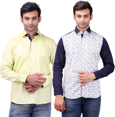 Clubstone Men's Solid Formal Yellow, White, Blue Shirt
