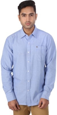 Warewell Men's Solid Casual Blue Shirt