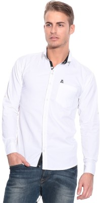 Pazel Men's Solid Casual White Shirt