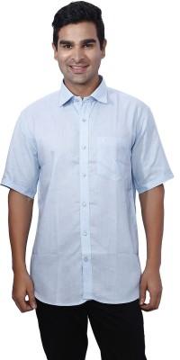Nanya Men's Solid Casual Linen Blue Shirt
