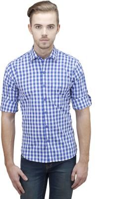 Unixx Men's Checkered Casual Blue Shirt
