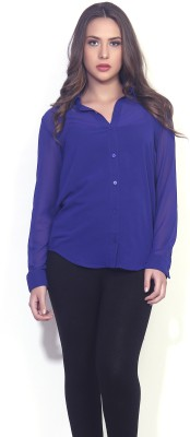TheGudLook Women,s Solid Casual Blue Shirt