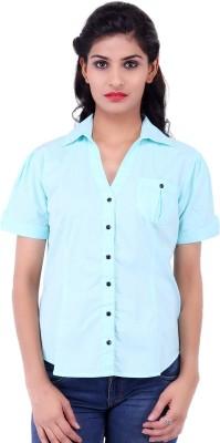 Fbbic Women's Solid Formal Blue Shirt
