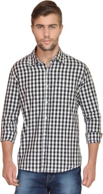 BlackRooster Men's Checkered Casual Black Shirt