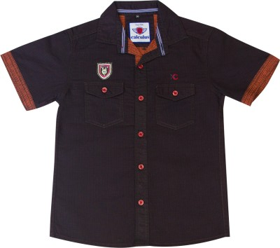 Calculus Boy's Solid Casual Brown Shirt