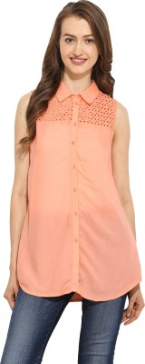 Free & Young Women's Solid Casual Pink Shirt