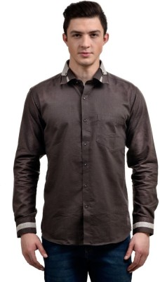 Future Plus Men's Self Design Casual Linen Brown Shirt
