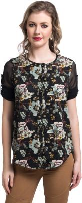 Uptownie Lite Women's Floral Print Casual Black Shirt