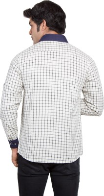 Nauhwar Men's Checkered Formal White Shirt