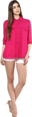 Indicot Women's Solid Casual Pink Shirt