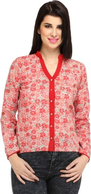 Meee Women,s Floral Print Casual Red Shirt