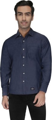 Again? Vintage Men's Solid Casual Dark Blue Shirt