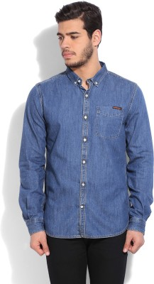 Superdry Mens Solid Casual Blue Shirt