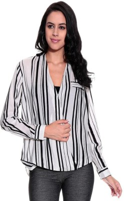 Remanika Women,s Striped Casual Black Shirt