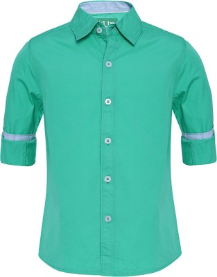 Slub Junior By Inmark Boy's Solid Casual Green Shirt