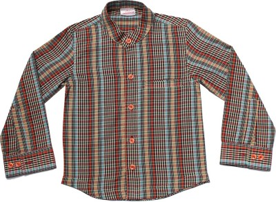 Babeezworld Boys Checkered Casual Brown Shirt