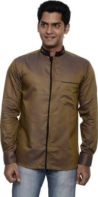 Ach Fashion Men's Self Design Casual Linen Gold Shirt