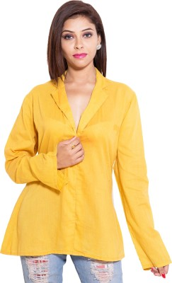 Kanika Creations Women's Solid Casual Yellow Shirt