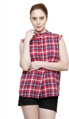 I Am For You Women's Checkered Casual Red Shirt