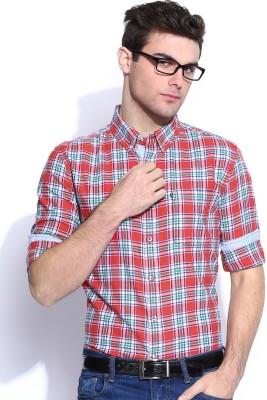 Harvard Men's Checkered Casual Red Shirt