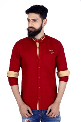 MOZAC Men,s Solid Casual Red Shirt