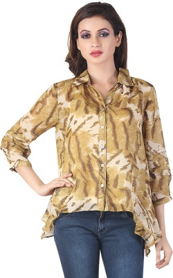 Bfly Women's Printed Casual Beige Shirt