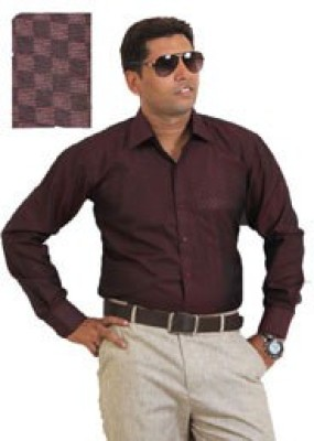 SIERA Men's Checkered Casual Maroon Shirt