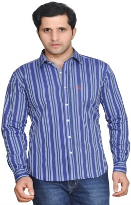 Ubho Men's Striped Casual Light Blue Shirt
