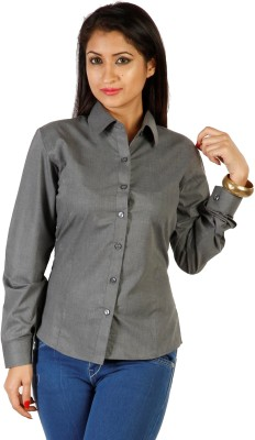 Hugo Chavez Women's Solid Formal Grey Shirt