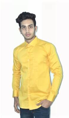 Neptune Men's Self Design Casual Yellow Shirt