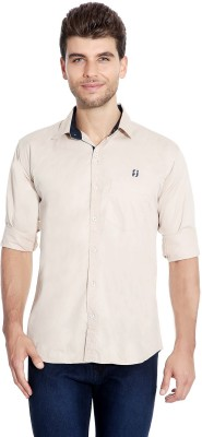 Flyjohn Men's Solid Casual Beige Shirt