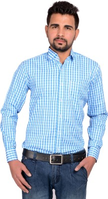 Riwas Collection Men's Checkered Formal Light Blue, Blue Shirt