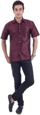 Scot Wilson Men's Solid Casual Maroon Shirt