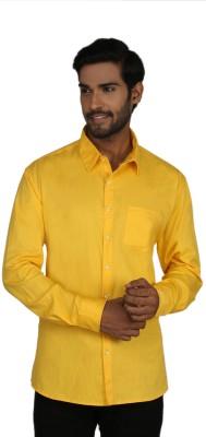 Macoro Men,s Solid Casual Yellow Shirt