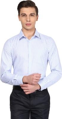 London Bridge Men's Striped Formal White, Blue Shirt