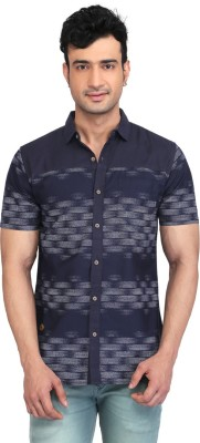 Glabrous Men,s Checkered Casual Blue Shirt
