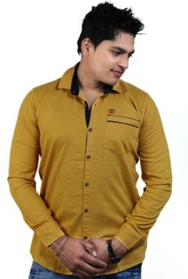 Vigroll shirts Men's Solid Casual Yellow Shirt
