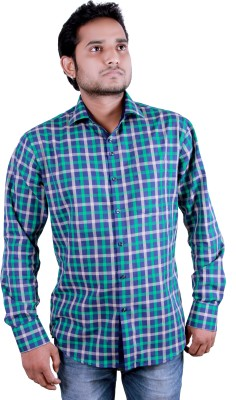 Players King Men's Checkered Casual Dark Green Shirt
