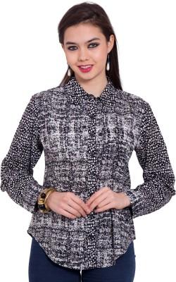 Tuntuk Women's Printed Casual Black Shirt