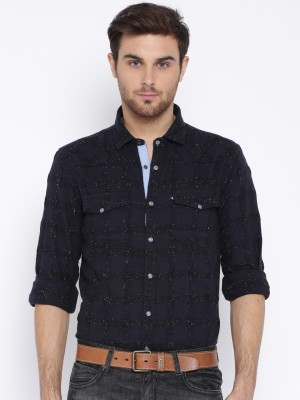 Harvard Men's Checkered Casual Dark Blue Shirt